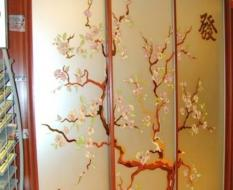 Матовое стекло с витражом Сакура