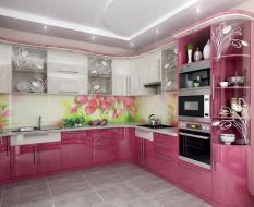 Розовая кухня глянец