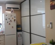 Межкомнатные двери купе белое стекло (1)