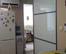 Межкомнатные двери купе белое стекло (3)