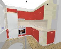 Угловая пластиковая кухня красная