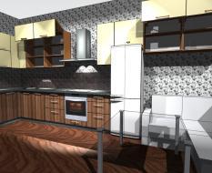 Кухня из шпона с уголком