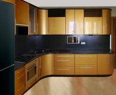 Угловая кухня золотой фасад МДФ