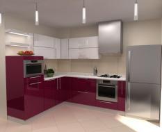 Красная глянцевая кухня из пластика