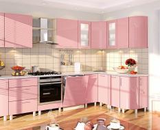Розовая кухня крашенный МДФ