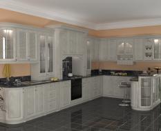 Белая П-образная кухня из массива